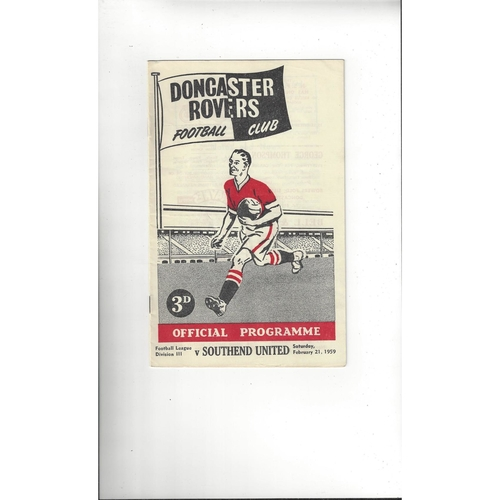 1958/59 Doncaster Rovers v Southend United Football Programme