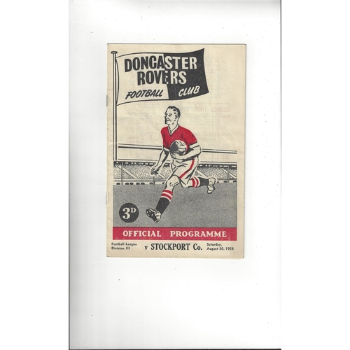 1958/59 Doncaster Rovers v Stockport County Football Programme