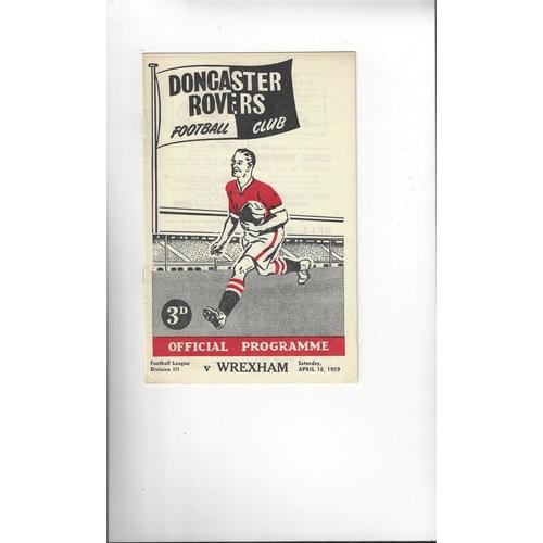 1958/59 Doncaster Rovers v Wrexham Football Programme
