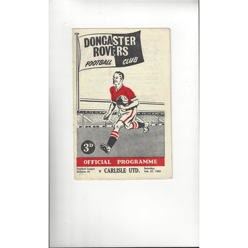 1959/60 Doncaster Rovers v Carlisle United Football Programme