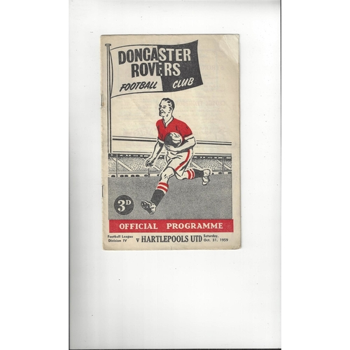 1959/60 Doncaster Rovers v Hartlepool United Football Programme
