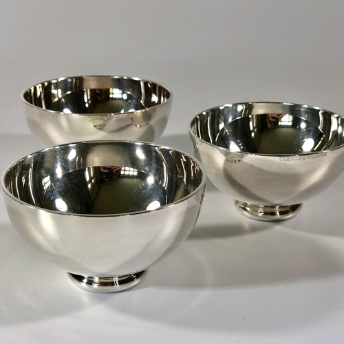 Trio of silver plated round bowls