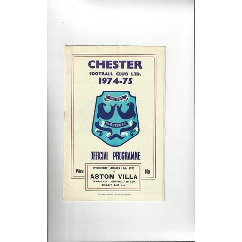 1974/75 Chester v Aston Villa League Cup Semi Final Football Programme