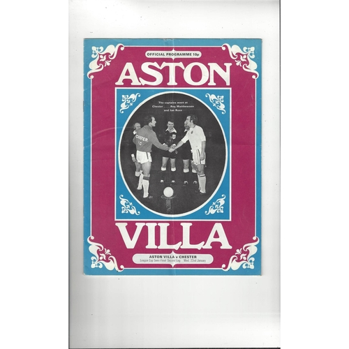 1974/75 Aston Villa v Chester League Cup Semi Final Football Programme