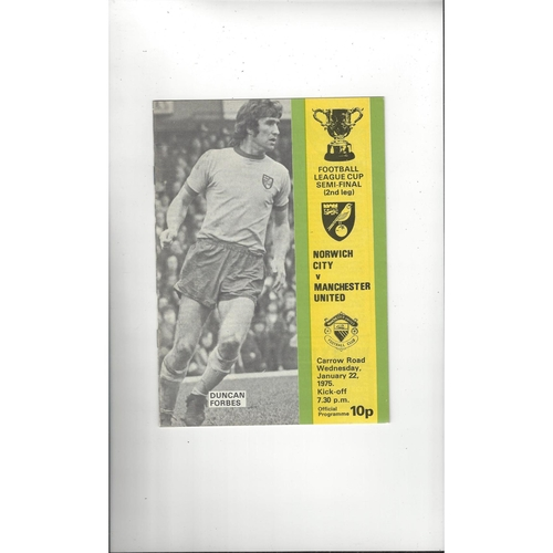 1974/75 Norwich City v Manchester United League Cup Semi Final Football Programme