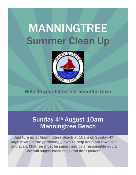 Manningtree Summer Clean Up, Sunday 4th August 2019 at 10am