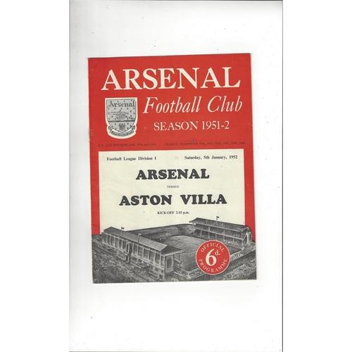 1951/52 Arsenal v Aston Villa Football Programme