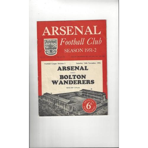 1951/52 Arsenal v Bolton Wanderers Football Programme