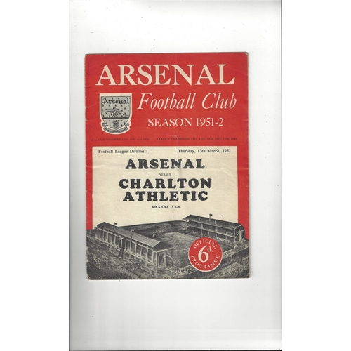 1951/52 Arsenal v Charlton Athletic Football Programme