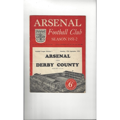 1951/52 Arsenal v Derby County Football Programme