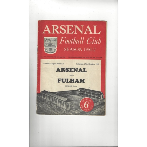 1951/52 Arsenal v Fulham Football Programme