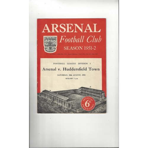 1951/52 Arsenal v Huddersfield Town Football Programme