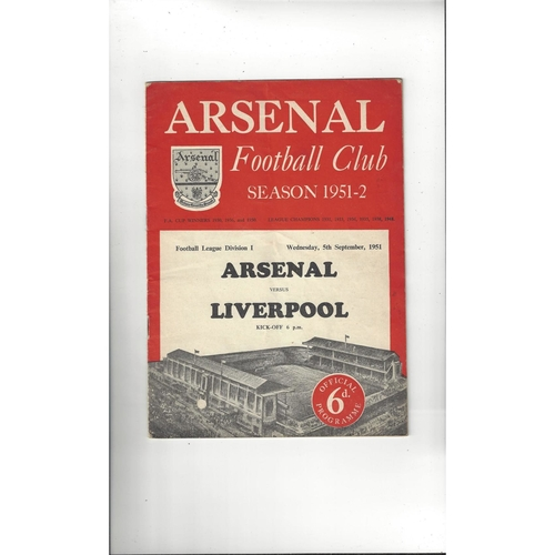 1951/52 Arsenal v Liverpool Football Programme