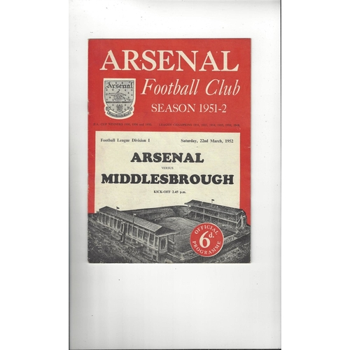 1951/52 Arsenal v Middlesbrough Football Programme