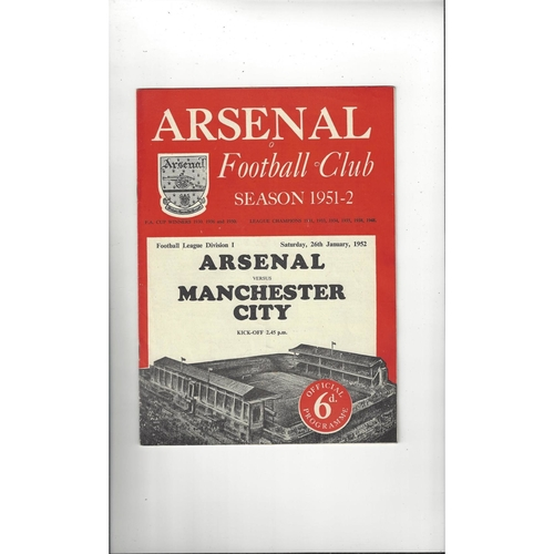 1951/52 Arsenal v Manchester City Football Programme