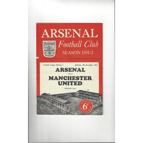 1951/52 Arsenal v Manchester United Football Programme