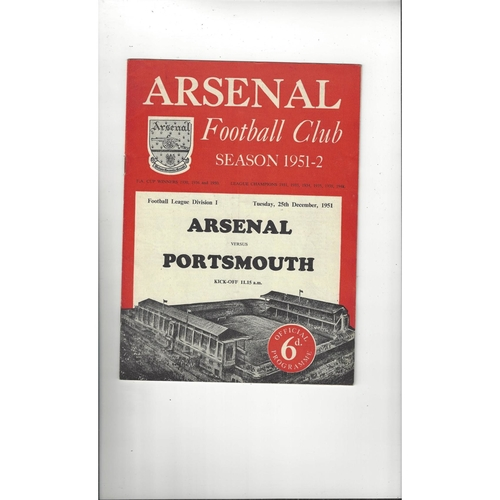 1951/52 Arsenal v Portsmouth Football Programme