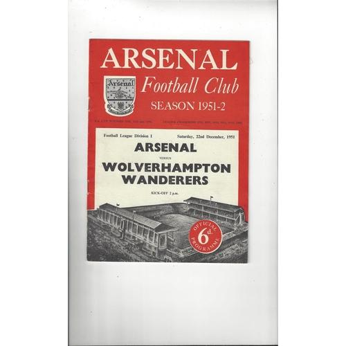 1951/52 Arsenal v Wolves Football Programme