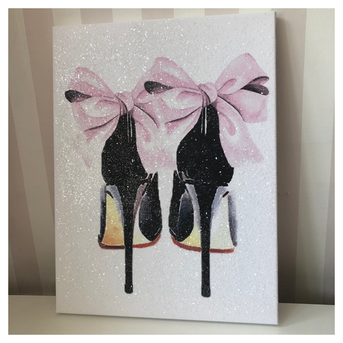 Glitter Pink & Black Bow Heels Canvas