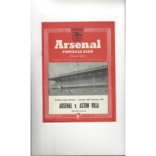 1952/53 Arsenal v Aston Villa Football Programme
