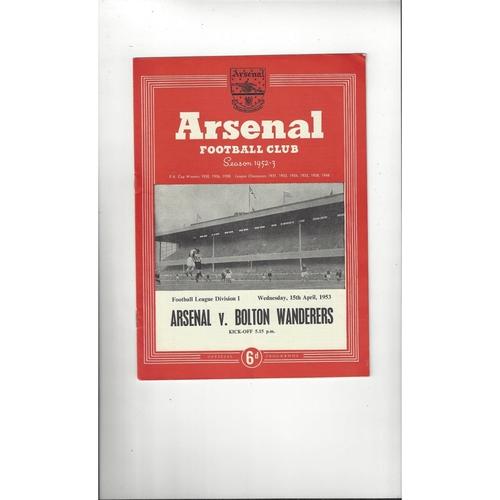 1952/53 Arsenal v Bolton Wanderers Football Programme