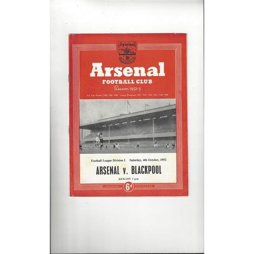 1952/53 Arsenal v Blackpool Football Programme