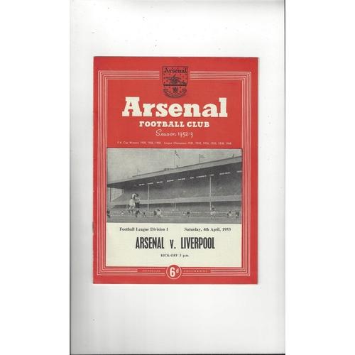 1952/53 Arsenal v Liverpool Football Programme