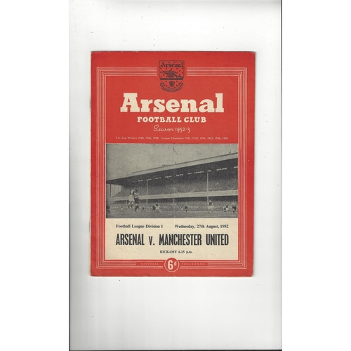 1952/53 Arsenal v Manchester United Football Programme