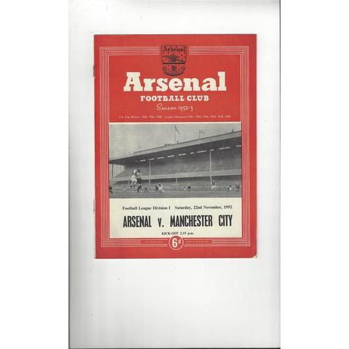 1952/53 Arsenal v Manchester City Football Programme