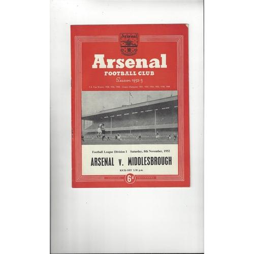 1952/53 Arsenal v Middlesbrough Football Programme
