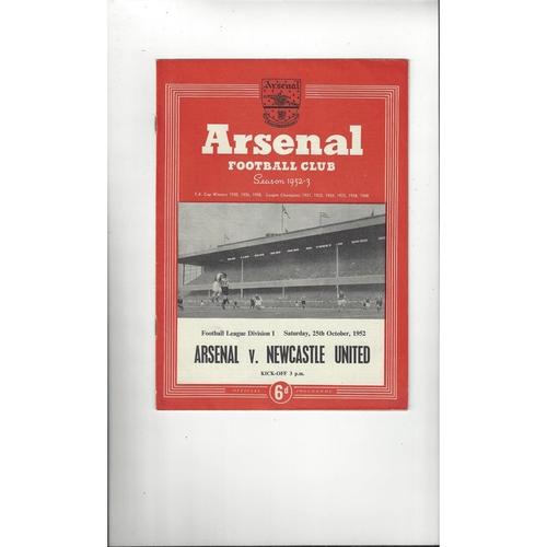 1952/53 Arsenal v Newcastle United Football Programme