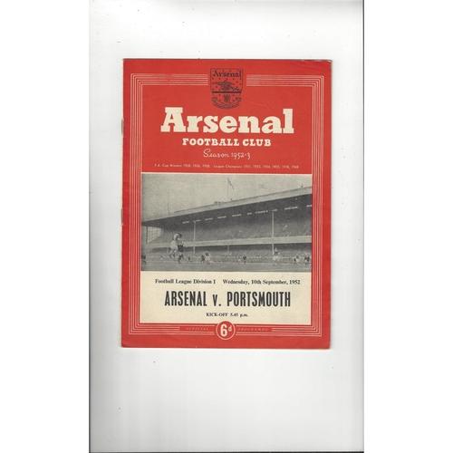 1952/53 Arsenal v Portsmouth Football Programme