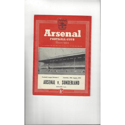 1952/53 Arsenal v Sunderland Football Programme