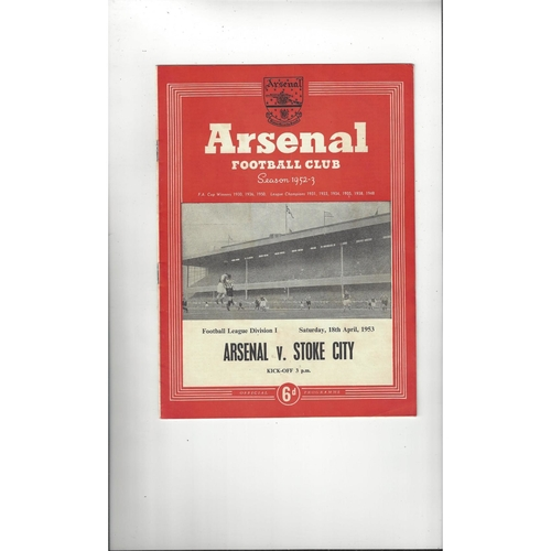 1952/53 Arsenal v Stoke City Football Programme