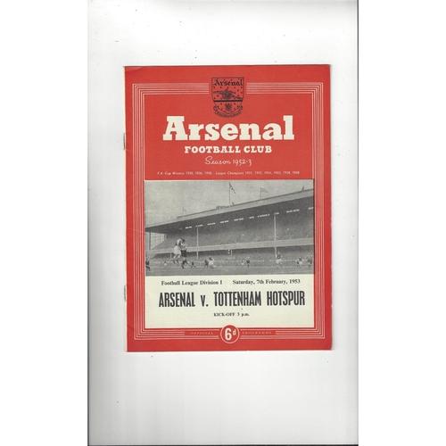 1952/53 Arsenal v Tottenham Hotspur Football Programme
