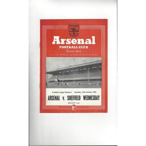 1952/53 Arsenal v Sheffield Wednesday Football Programme
