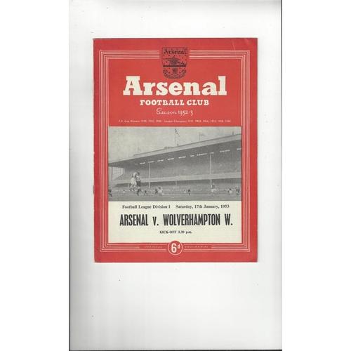 1952/53 Arsenal v Wolves Football Programme