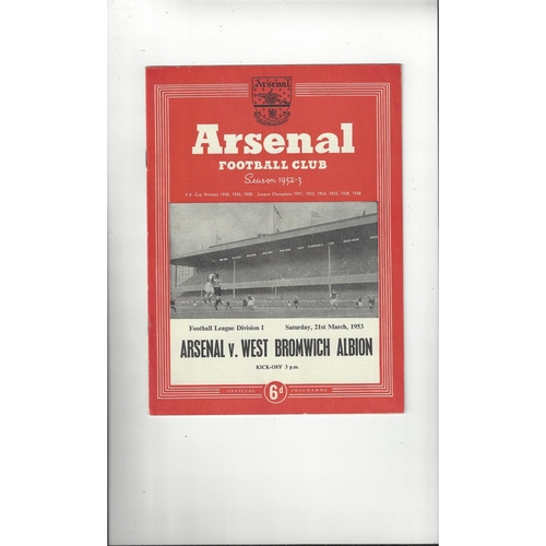 1952/53 Arsenal v West Bromwich Albion Football Programme