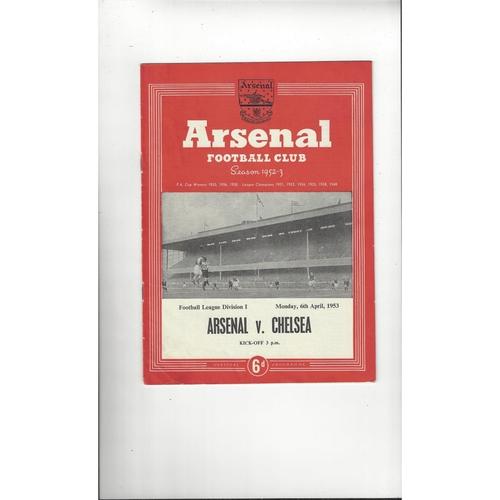 1952/53 Arsenal v Chelsea Football Programme