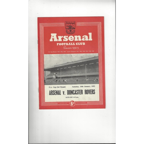 1952/53 Arsenal v Doncaster Rovers FA Cup Football Programme