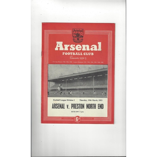 1952/53 Arsenal v Preston Football Programme