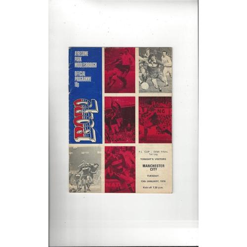 1975/76 Middlesbrough v Manchester City League Cup Semi Final Football Programme