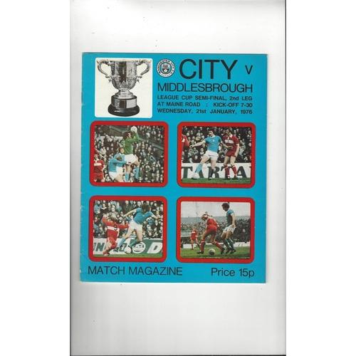 1975/76 Manchester City v Middlesbrough League Cup Semi Final Football Programme