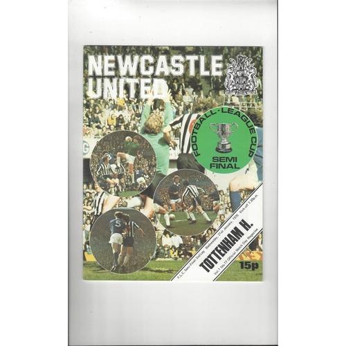 1975/76 Newcastle United v Tottenham Hotspur League Cup Semi Final Football Programme