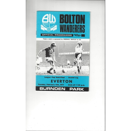 1976/77 Bolton Wanderers v Everton League Cup Semi Final Football Programme