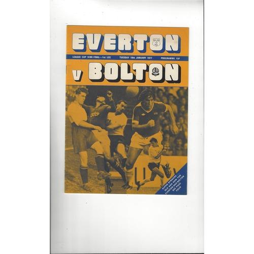 1976/77 Everton v Bolton Wanderers League Cup Semi Final Football Programme