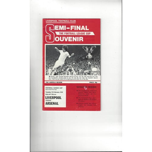 1977/78 Liverpool v Arsenal League Cup Semi Final Football Programme