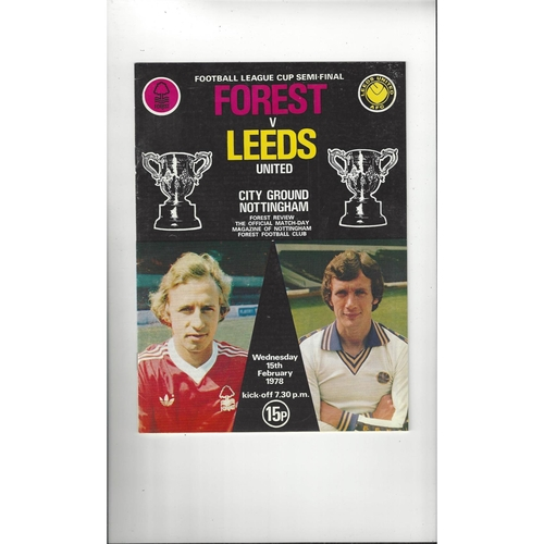 1977/78 Nottingham Forest v Leeds United League Cup Semi Final Football Programme