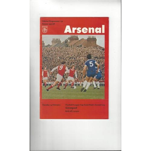 1977/78 Arsenal v Liverpool League Cup Semi Final Football Programme