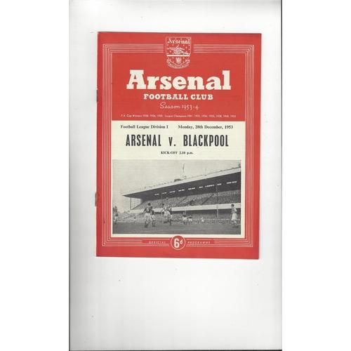 1953/54 Arsenal v Blackpool Football Programme